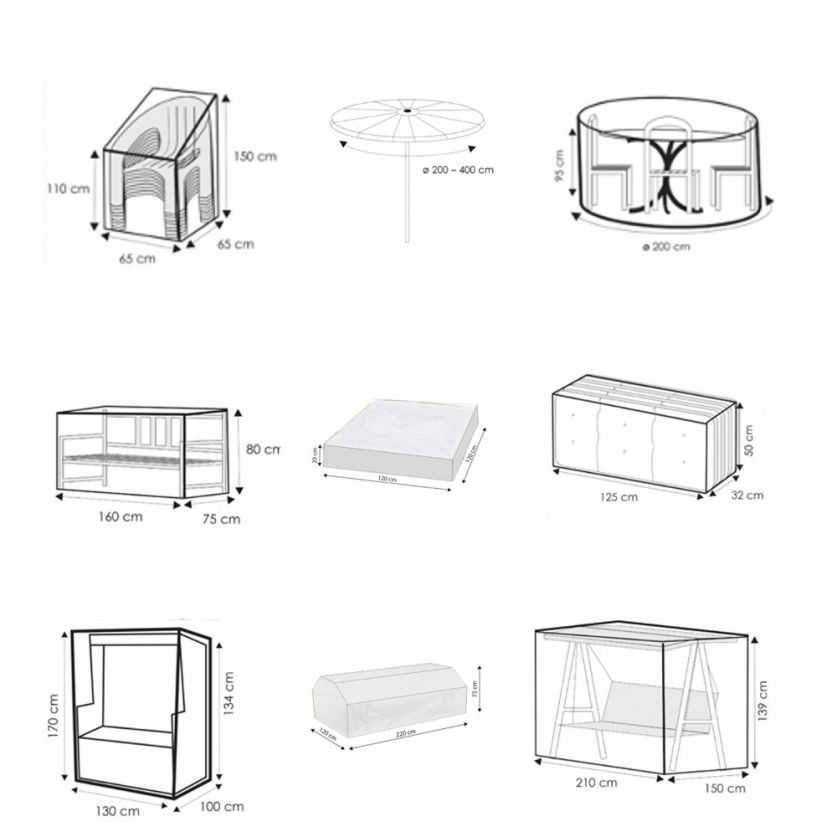 schutzh llen f r gartenm bel transparent. Black Bedroom Furniture Sets. Home Design Ideas