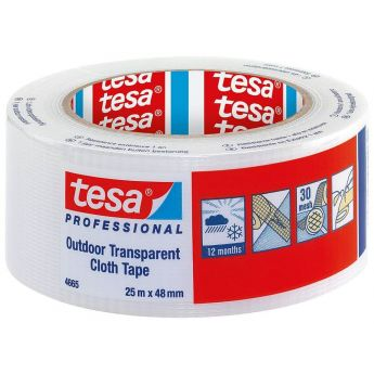 tesa UV - Outdoor Gewebeband 4665 PE 48 mm x 25 m (transparent)